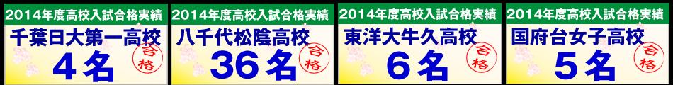 千葉日本大学第一高校・八千代松陰高校・東洋大付属牛久高校・国府台女子高校の合格者数