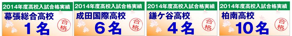 幕張総合高校・成田国際高校・鎌ケ谷高校・柏南高校の合格者数