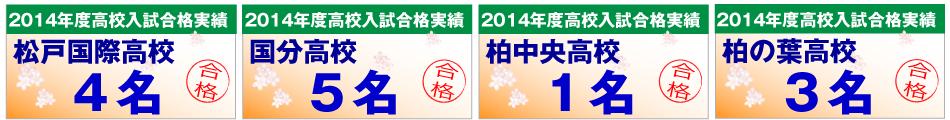 松戸国際高校・国分高校・柏中央高校・柏の葉高校の合格者数