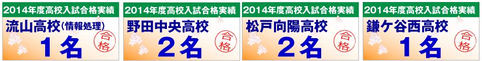 流山(情報処理)高校・野田中央高校・松戸向陽高校・鎌ケ谷西高校の合格者数