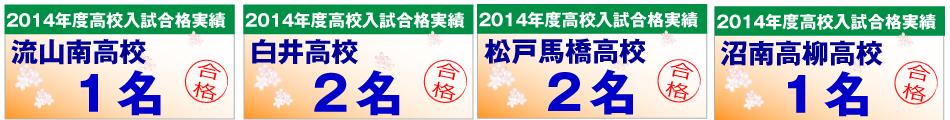 流山南高校・白井高校・松戸馬橋高校・湘南高柳の合格者数